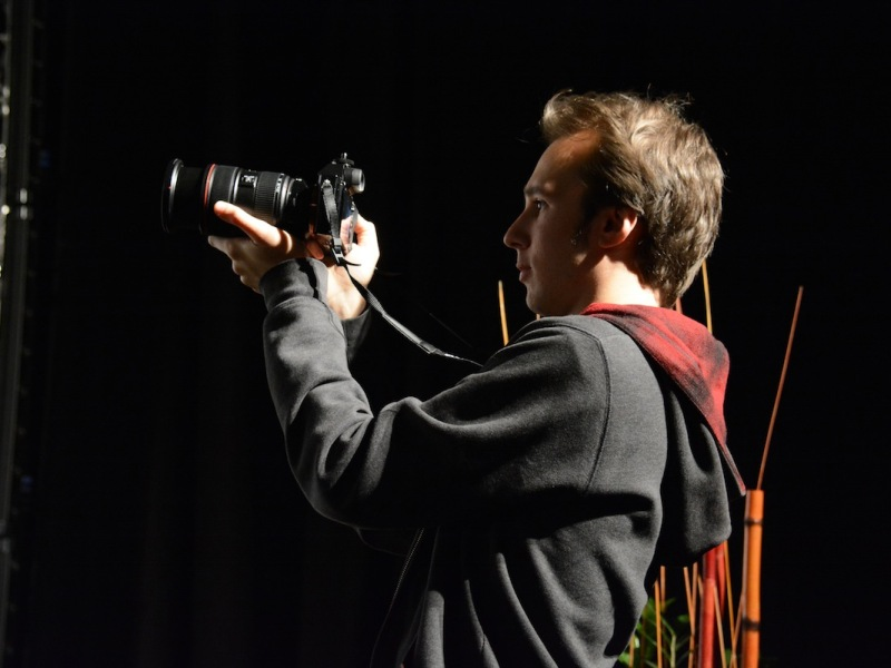 cinematography student filming